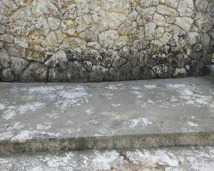 水の浸透によりカビが付着し本来の美観を損なった琉球石灰岩