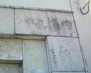 外壁の琉球石灰岩に付着したカビ除去