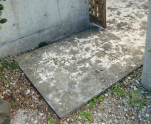 琉球石灰岩の黒カビ防止コーティングの施工前