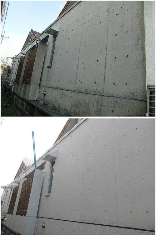 コンクリート打ちっぱなし表面被覆工法で風合い復元